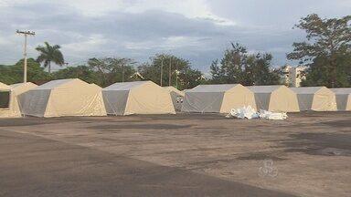 Parque dos Tanques esá sendo preparado para receber famílias desabrigadas pela cheia - Local deve ficar pronto na próxima semana.