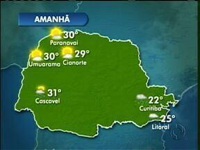 Previsão de sol para os próximos dias no noroeste - O tempo segue firme durante a semana. Máxima de 30º nesta quinta-feira (03) em Paranavaí e em Umuarama.