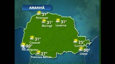 Veja como fica a previsão do tempo para esta quinta-feira - Há previsão de chuva nas regiões oeste e sudoeste.