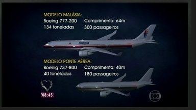 Mais Você compara aviões de ponte aérea RJ-SP com o da Malasya Airlines - Boeing 777 da companhia segue desaparecido desde março