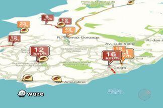 Confira os pontos de lentidão no trânsito pelo Mapa da Velocidade - Na Avenida Jequitaia, na Calçada, a velocidade média é de 17 km/h.
