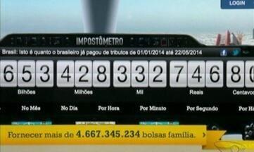 Dinheiro recebido por brasileiros até o momento foi só para pagar impostos - A cada segundo, são R$ 53 mil reais arrecadados. Mais de R$ 4 bilhões por dia. Impostômetro realiza essa conta.