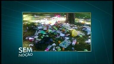 Flagrante mostra lixo espalhado no Parque da Cidade em Sobradinho - As imagens mostram uma grande quantidade de lixo espalhada pelo gramado na área dos pinheiros. Eram restos de papel, plástico e caixas de papelão.