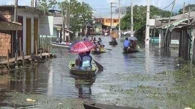 Hospital de Caapitanga fica isolado por conta da cheia, no Amazonas - Pacientes foram transferidos; Rio Manacapuru subiu e atingiu a cidade.
