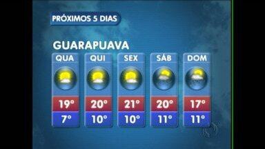 A quarta-feira será ensolarada na região de Guarapuava - Não existe previsão de chuva e as temperaturas não sobem muito.