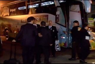 Esporte: Seleção do Uruguai treina na Arena do Jacaré em Sete Lagoas - Seleção desembargou no aeroporto de Confins.