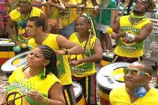 Olodum esquenta a torcida antes do Jogo do Brasil contra Camarões - Grupo se apresenta nos intervalos do jogo; confira.