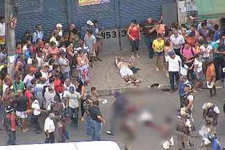 Homem é morto a tiros e 4 pessoas ficam feridas em Salvador - Crime ocorreu por volta das 12h no Largo do Tanque, uma região bastante movimentada da capital baiana. O trânsito ficou parado no local.