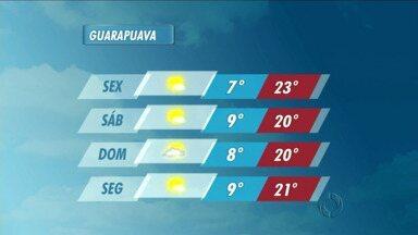 A sexta-feira vai ter sol na região de Guarapuava - Não existe previsão de chuva e as temperaturas ficam mais altas no período da tarde.