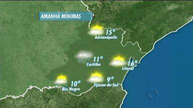 Sexta-feira com chuva e mínima de 11 graus - Máxima deve bater nos 18 graus em Curitiba, e em 23 graus nas praias.