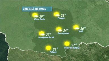 Temperaturas sobem mais amanhã na região de Guarapuava - Os termômetros podem marcar 28 graus em Pitanga e 24 em Guarapuava.