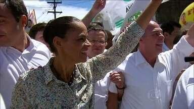 Marina Silva começa oficialmente sua campanha eleitoral no Recife - A candidata à presidência da república pelo PSB, visitou o bairro de Casa Amarela, um dos mais populosos do Recife. O combate à inflação foi um dos temas abordados por Marina em discurso.