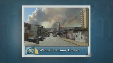 Incêndio em canavial assusta moradores de Limeira, SP - O fogo se alastrou às margens da Rodovia Anhanguera e uma coluna de fumaça prejudicou a visibilidade de quem passava pelo local. Não foi necessário bloquear o trecho da via.