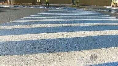 Faixas de pedestre ganham cores novas em Araraquara - Faixas de pedestre ganham cores novas em Araraquara