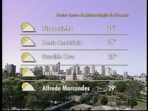 Sol predomina no Oeste Paulista - Confira como ficam as temperaturas nas cidades da região.