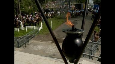 Começa a Semana Farroupilha em Santa Maria (RS) - Nesta manhã, a Chama Crioula chegou no Altar Monumento da Basílica da Medianeira.