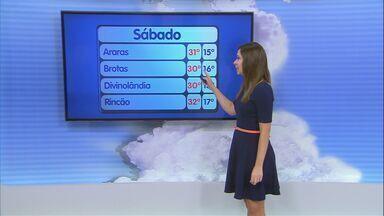 Confira a previsão do tempo para a região de São Carlos neste sábado (13) - Confira a previsão do tempo para a região de São Carlos neste sábado (13).