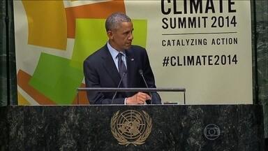 Brasil não assina acordo para acabar com o desmatamento até 2030 - Na Cúpula do Clima das Nações Unidas, em Nova York, o presidente Barack Obama defendeu que os Estados Unidos e a China liderem os esforços mundiais para reduzir as emissões de carbono.