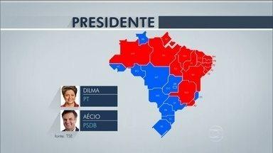 Veja como ficou a divisão dos votos para presidente da República no segundo turno - A presidente Dilma Rousseff foi reeleita com uma diferença de quase 3,5 milhões de votos sobre o candidato Aécio Neves.