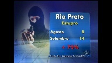 Levantamento da Secretaria de Segurança mostra aumento no número de estupros em Rio Preto - A Secretaria de Segurança Pública divulgou nesta segunda-feira (27) os números da criminalidade no estado no mês de setembro. Em Rio Preto (SP), destaque para o aumento do número de 'estupros'.
