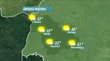 Previsão de sol e calor para esta terça-feira - As temperaturas máximas ficam acima dos 30ºC na região. Mudança no tempo, só mais pro fim da semana