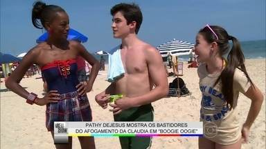 Giovanna Rispoli encara o mar em cena de afogamento - Vídeo Show mostra os bastidores de Boogie Oogie