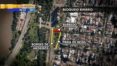 Rua Barbedo, em Porto Alegre, segue bloqueada até o final de novembro - O bloqueio é causado pelas obras do binário.