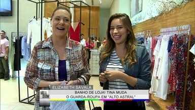 Vídeo Show acompanha mudança no guarda-roupa de Tina - Personagem de Elizabeth Savala ganha banho de loja