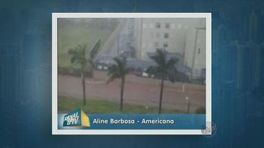 Chuva forte é registrada na região de Americana - A chuva forte registrada nesta tarde de terça-feira (30) alagou ruas em Americana (SP) e derrubou árvores em Sumaré (SP).