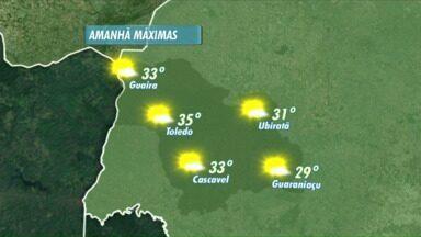O domingo vai ser de sol e calor no Oeste do Paraná - Em Toledo a temperatura máxima pode chegar aos 35 graus.