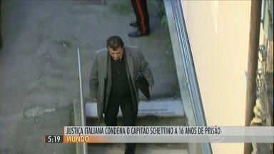 Justiça italiana condena capitão do Costa Concórdia a 16 anos de prisão - Um tribunal na Itália condenou o capitão do Costa Concórdia, Francesco Schettino, a 16 anos de prisão. Ele comandava o navio de cruzeiro, que naufragou em janeiro de 2012. quando 32 pessoas morreram.