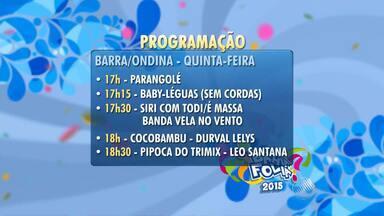 Veja a programação dos circuitos do carnaval desta quinta (12) - Bell Marques, Durval Lelys e Saulo são algumas das atrações do dia.