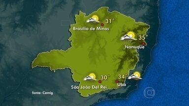 Semana começa com altas temperaturas em Minas Gerais - Ainda há previsão de chuva rápida no Nordeste do estado.