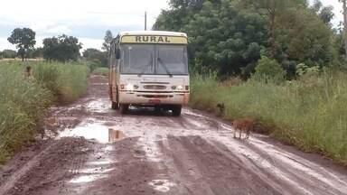 Estradas intransitáveis dificultam o transporte de alunos de reservas indígenas de MS - Os ônibus escolares não têm conseguido chegar nas casas dos estudantes. Justiça deu prazo para que as prefeituras de Dourados (MS) e Itaporã (MS)