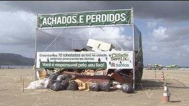 Santos realiza campanha contra sujeira nas praias - Uma montanha de lixo com tudo o que as pessoas jogam nas areias de Santos. Ela está na praia e faz parte da campanha Cidade sem Lixo. O trabalho para recolher a sujeira contou com a ajuda de um grupo de voluntários.