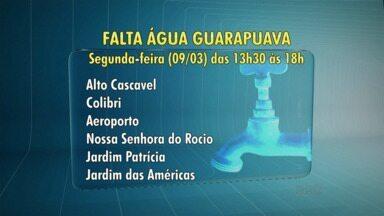 Bairros de Guarapuava podem ficar sem água na segunda-feira - A manutenção vai ser feita em seis bairros da cidade.