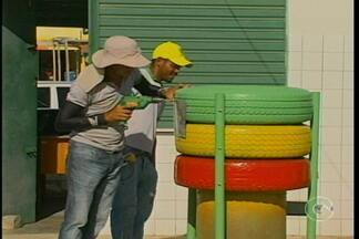 Exemplo de sustentabilidade em Petrolina - Uma organização não governamental, em Petrolina, está produzindo lixeiras ecológicas. Os pneus são os principais materiais utilizados