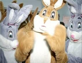 Grupo se veste de coelho da páscoa para divertir as crianças - Grupo se veste de coelho da páscoa para divertir as crianças