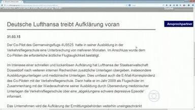 Lufthansa admite que sabia que copiloto tirou licença para tratar depressão severa em 2009 - A Lufthansa, que é a dona da Germanwings, admitiu que sabia que o copiloto Andreas Lubitz tinha tido uma depressão severa. Ele é apontado como o responsável pela queda do airbus, nos alpes franceses.