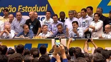 PSDB realiza conveção, em BH, para escolha da nova diretoria do partido, em Minas - Deputado Domingos Sávio assumiu presidência estadual da legenda. Tucanos estão 'prontos' para retomar governo do país e de Minas, disse Aécio Neves.