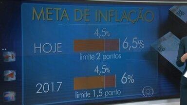 Governo decide mudar a meta de inflação em 2017 - Para recuperar a confiança, o governo decidiu mudar a meta de inflação em 2017. O objetivo é mostrar que o controle será mais rigoroso daqui para frente. É a primeira vez, em dez anos, que a meta foi alterada.