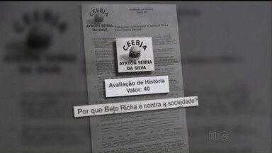 """Prova de história apresenta críticas ao Governo do Paraná - A prova criada por dois professores de uma escola em Almirante Tamandaré, apresentava perguntas com críticas ao governo do Paraná, entre elas: """"Por que Beto Richa é contra a sociedade?"""""""