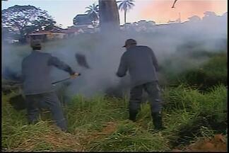 Bombeiros controlam queimada em Araxá - Incêndio ocorreu no Bairro São Geralde. Chamas começaram em lote vago