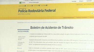 Boletins de ocorrência de acidentes em rodovias poderão ser feitos pela internet - A partir de agora os boletins de ocorrência de pequenos acidentes de trânsito em rodovias federais poderão ser feitos pela internet. O novo sistema está valendo para todo o Brasil.