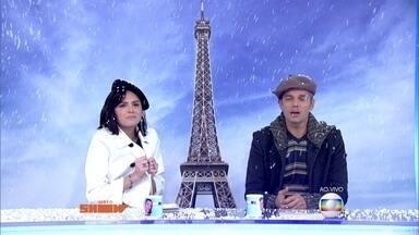 Otaviano Costa e Monica Iozzi são 'engolidos' por neve cenográfica - Torre Eiffel invade o estúdio do Vídeo Show