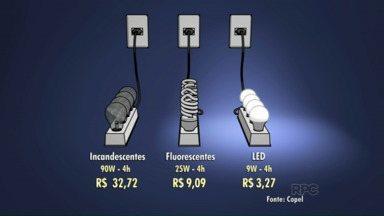 """Lâmpadas de LED gastam dez vezes menos que as incandescentes - É a série """"De Olho no Consumo"""", que estreou hoje no ParanáTV Noroeste. Até sexta-feira, tem muitas dicas para você diminuir a conta de luz."""