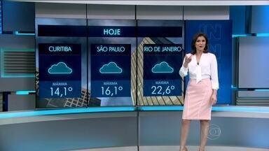 Previsão é de tempo instável no Sul na quinta-feira (23) - Fica nublado e com chuva a qualquer hora também no leste de São Paulo, incluindo a capital, no sul de Minas e do litoral da Bahia até o do Rio Grande do Norte.
