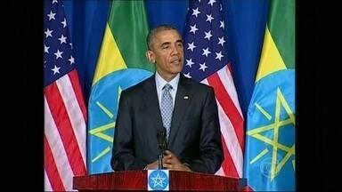Presidente Barack Obama visita a Etiópia - É o segundo país que ele visita em viagem à África. Combate ao terrorismo na região é a grande preocupação.