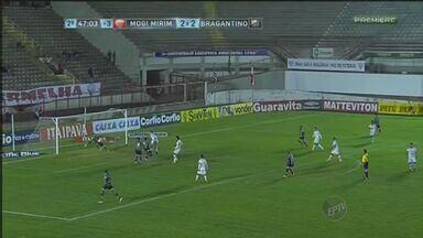 Mogi Mirim perde de 3 a 2 para o Bragantino - Com a vitória, o Bragantino chegou a 19 pontos na tabela e está em 12º lugar. Já o Mogi Mirim ficou com 13 pontos e continua estacionado na 18ª posição.