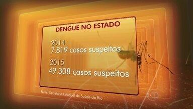 Aumenta o número de casos de suspeita de sengue no RJ - O número de casos de suspeita de dengue registrado no Rio de Janeiro aumentou. São seis vezes mais casos, em relação ao registrado em todo o ano de 2014. Muitas pessoas têm se descuidado e deixado a água se acumular.